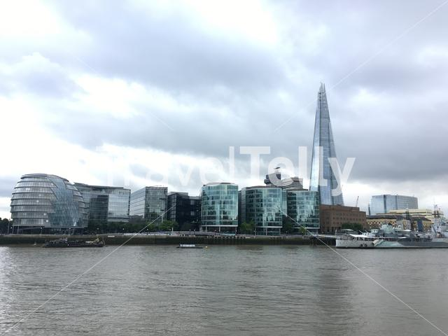 View of London city skyline including the Shard