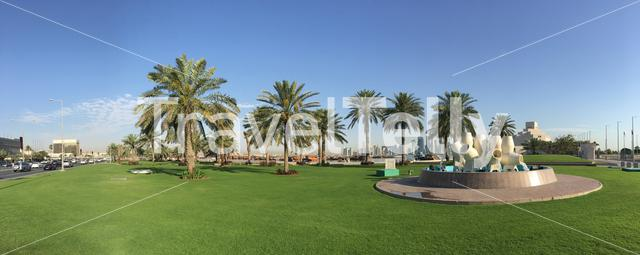 Panorama from a fountain located along the Dhow Harbour on the Corniche in Doha Qatar