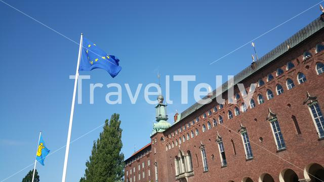 European flag at the Stockholm City Hall in Sweden