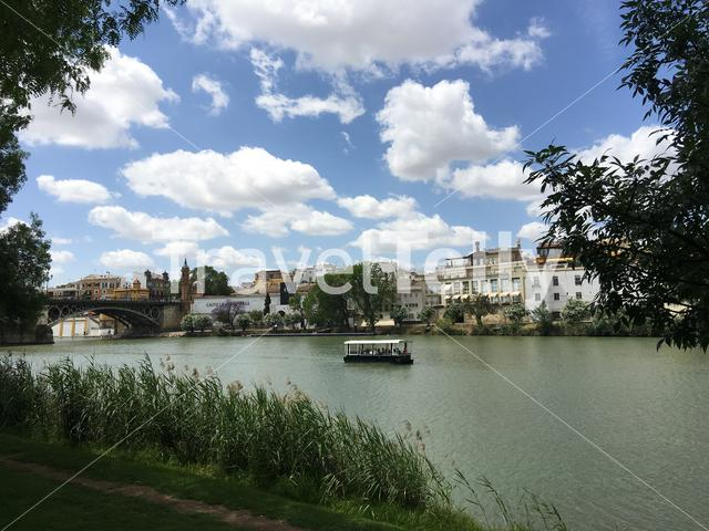 Puente de Isabel II Bridge and a cruise at the Canal de Alfonso XIII in Seville Spain