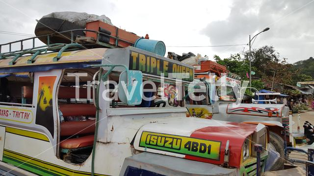 Jeepneys at station in TayTay, Philippines