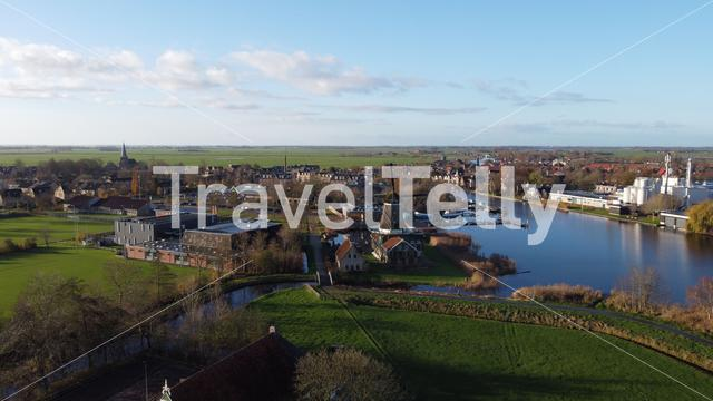 Aerial view from the city IJlst in Friesland, The Netherlands