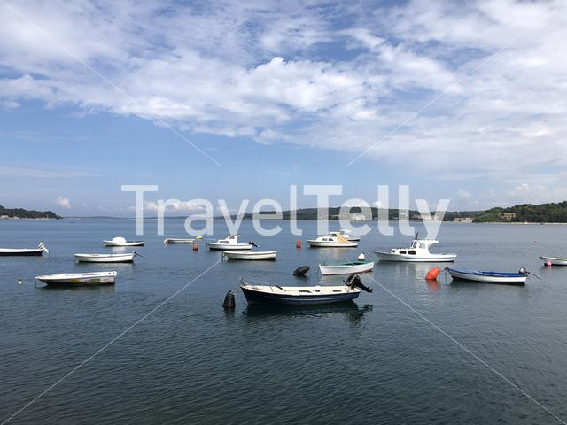 Boats at Uvala valovine bay in Pula Croatia