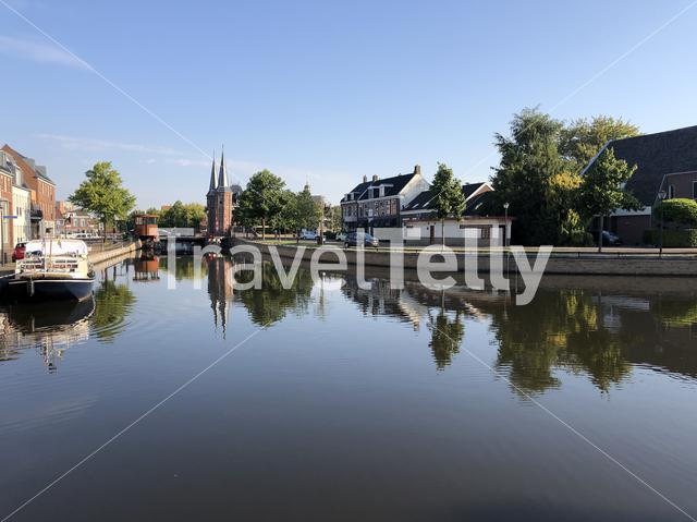 Canal around the city Sneek in Friesland The Netherlands