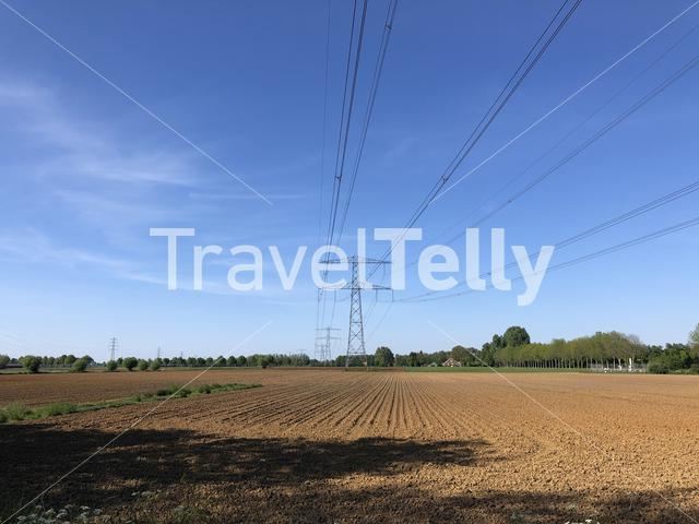 High power electricity poles in farmland around Hummelo, Gelderland The Netherlands