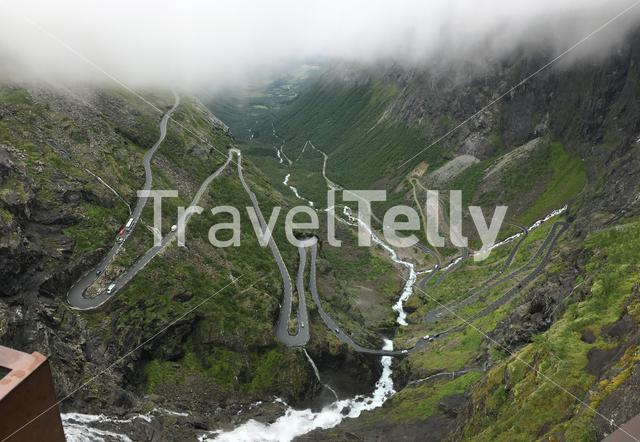 The winding road with hairpin bends up Trollstigen in Norway.