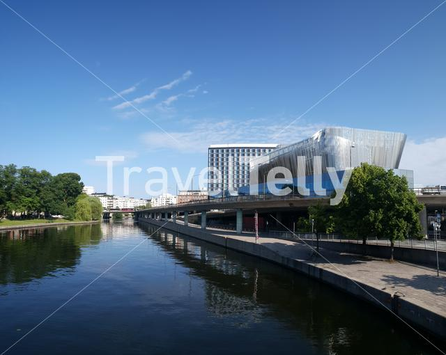 Radisson Blu Waterfront Hotel and modern buildings in Stockholm Sweden