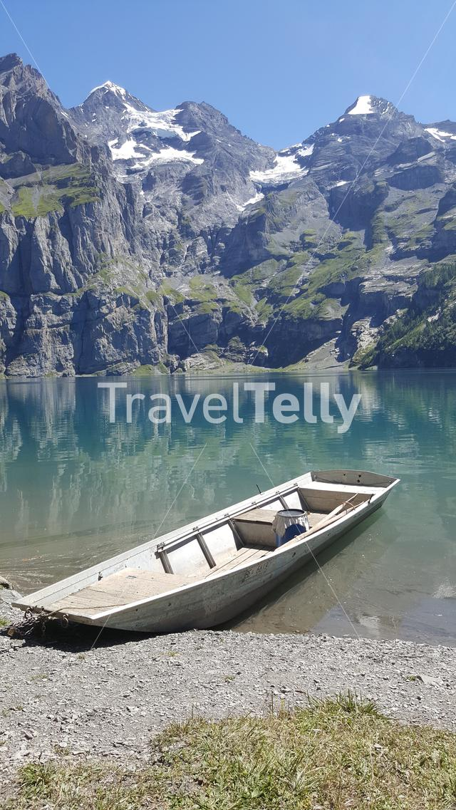 Oeschinensee with a boat