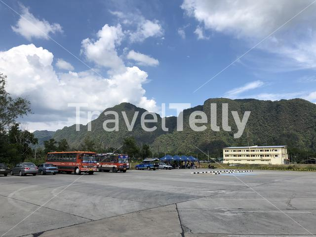 Mountains around a parking lot in Phang-Nga Thailand