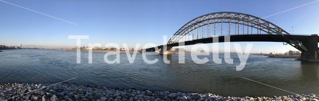 Panorama from the Waal in Nijmegen The Netherlands