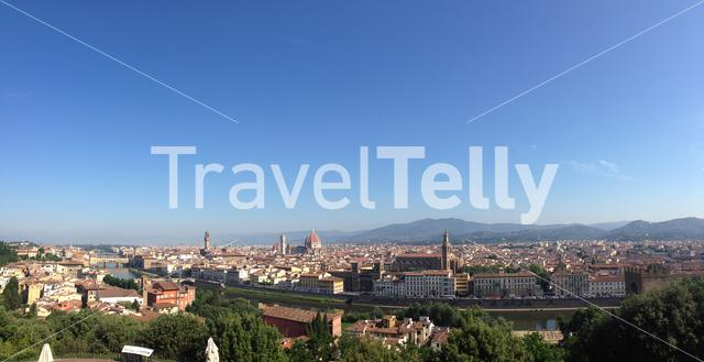 Panoramic view from the Piazzale Michelangelo in Florence Italy