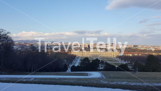 Winter day looking over the Schönbrunner Schlosspark and Schönbrunn Palace in Vienna Austria