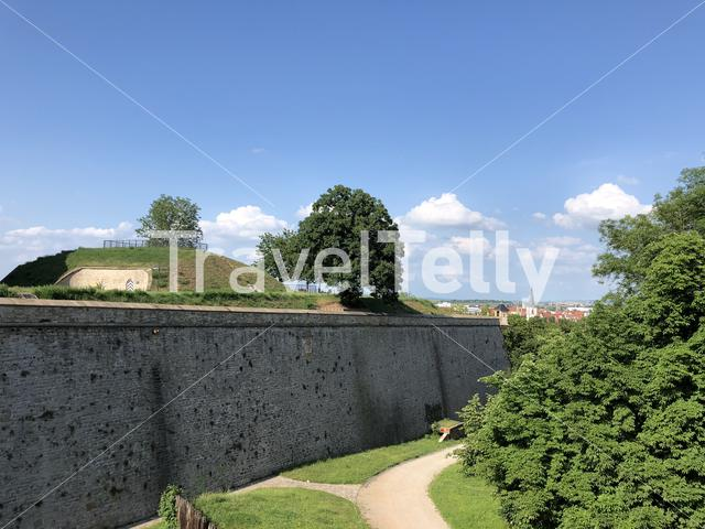 Wall of the Petersberg Citadel fortress in Erfurt, Germany