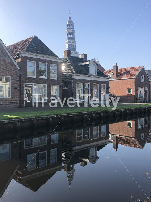 Empty street during a morning in Aldeboarn, Friesland The Netherlands