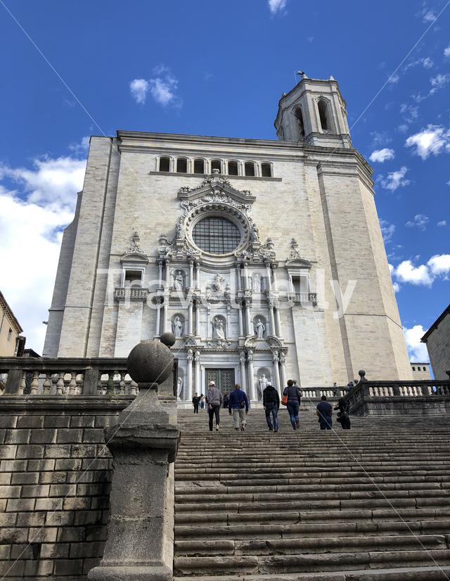 People walking at the stairs from the Cathedral of Girona in Catalonia, Spain