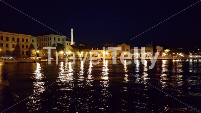 At night at the waterfront of Rovinj, Croatia