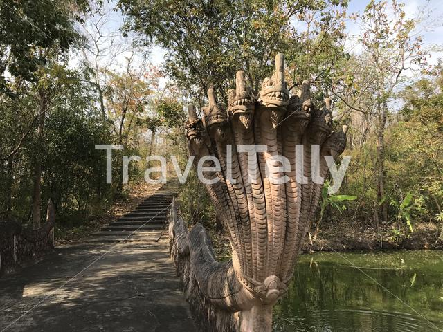 Path towards a buddhism temple in Phanom Sawai Forest Park Thailand