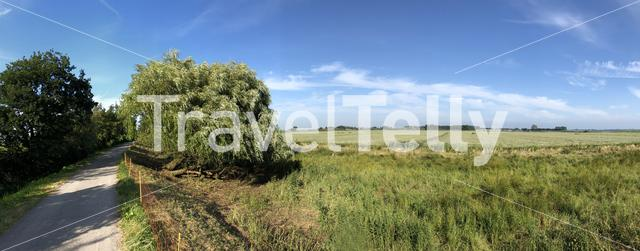 Panorama from farmland around the Sneeker lake in Friesland The Netherlands