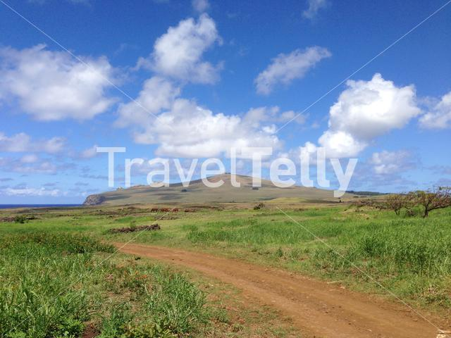 Landscape from the Easter Island with a dirt road