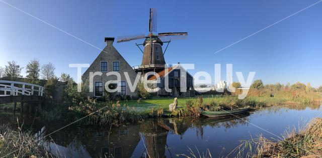 Panorama from the windmill in IJlst during autumn in Friesland, The Netherlands