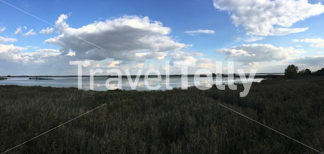 Panorama from a lake in Hortobagy National Park in Hungary