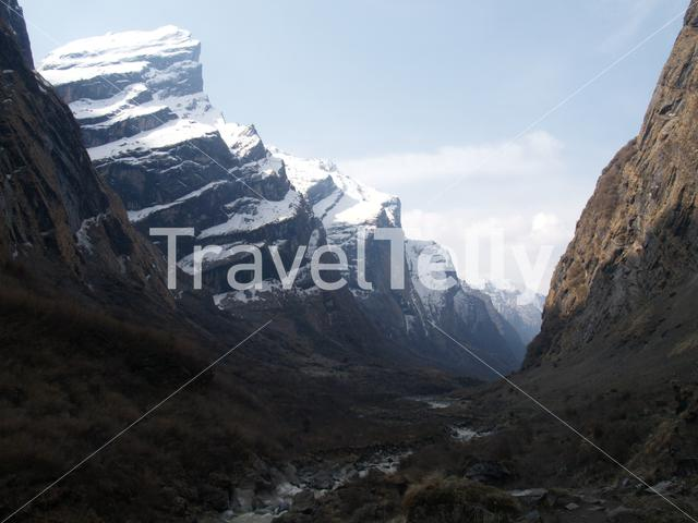 Snowy mountain range at Annapurna Conservation Area Nepal