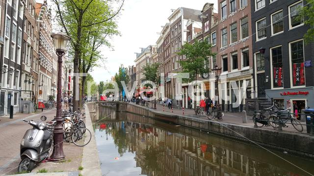 Dutch canal in Red Light District Amsterdam