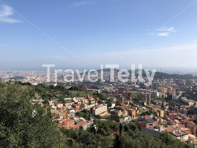 View from mount Tibidabo over Barcelona, Spain