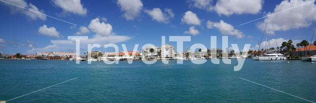 Panorama from the harbour of Oranjestad at Aruba on a sunny day
