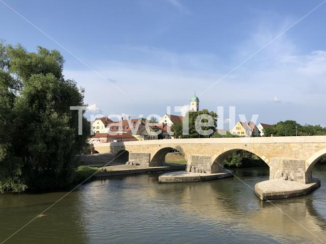 Stone brigde over the Danube river in Regensburg Germany