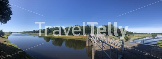 Panorama from a bridge over the river Vecht in Junne, Overijssel The Netherlands
