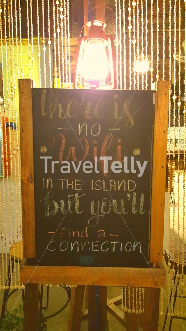 There is No WiFi in the island, but you will find a connection sign