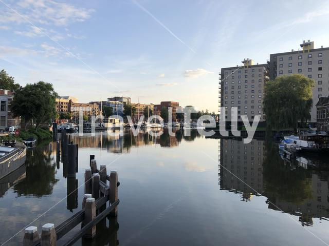 Oosterhaven in the morning in Groningen The Netherlands