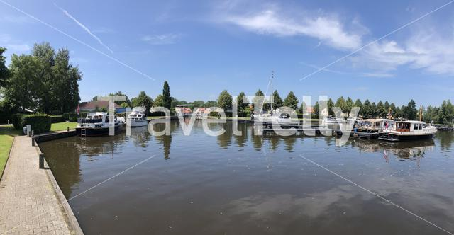 Panorama from a harbor in Langweer, Friesland The Netherlands