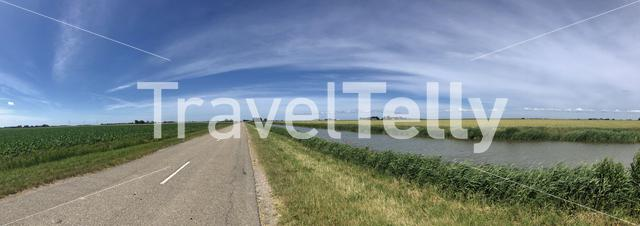 Farmland panorama in Friesland The Netherlands