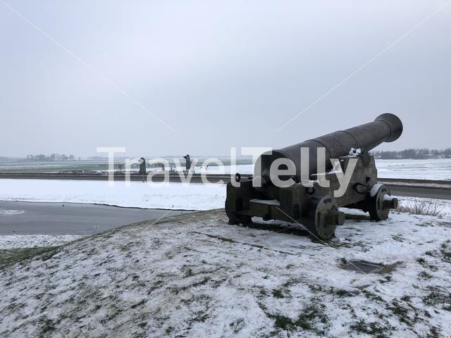Cannon during winter in Sloten, Friesland, The Netherlands