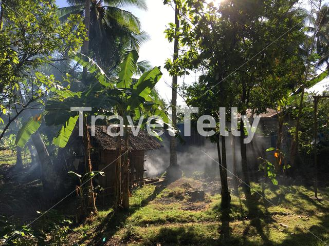 Smoke coming form a home at the countryside in Anda Bohol the Philippines