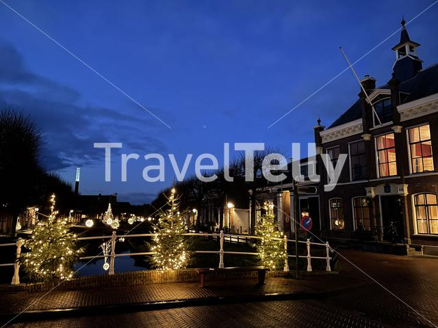 Bridge over a canal at night in IJlst Friesland The Netherlands