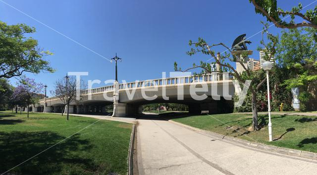 Panorama from the Pont del Regne at Turia gardens in Valencia Spain