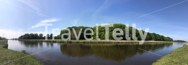 Panorama from the Twente canal around Goor in The Netherlands