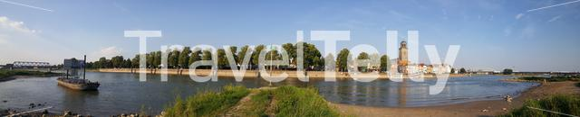 Panorama from the IJssel river and the city Deventer The Netherlands