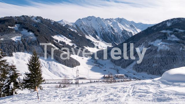 View on Traumhotel Alpina Gerlos in  ski area Zillertal Arena in Austria.