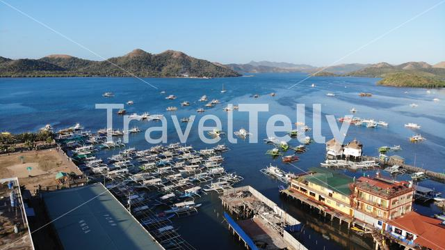 Aerial photo of Port  of Coron, Palawan, Philippines
