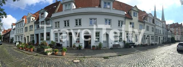 Panorama from houses in the old town of Lübeck Germany