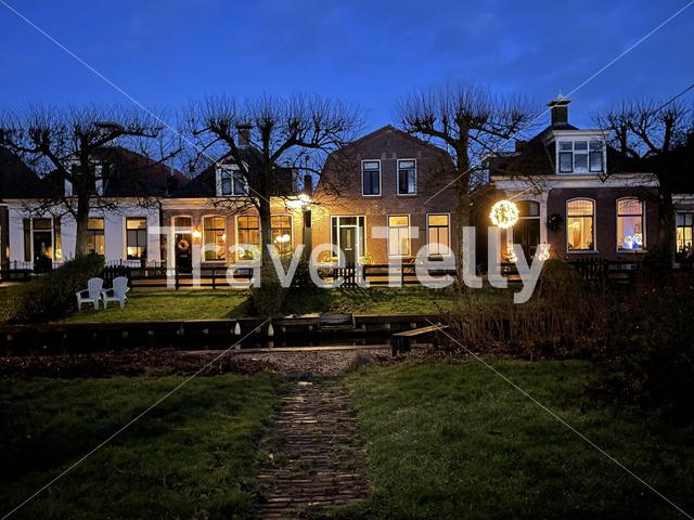 Houses at night in IJlst Friesland The Netherlands