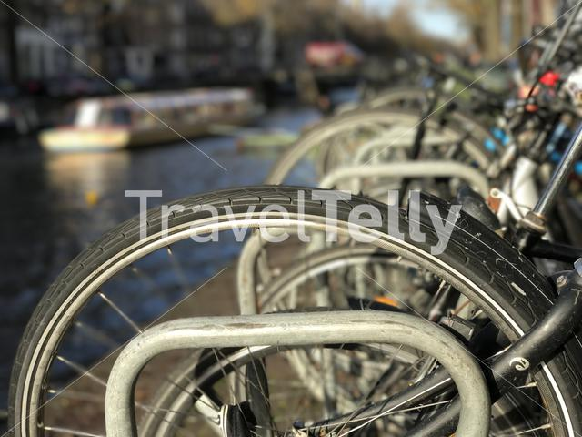 Bicycles next to the canal in Amsterdam The Netherlands
