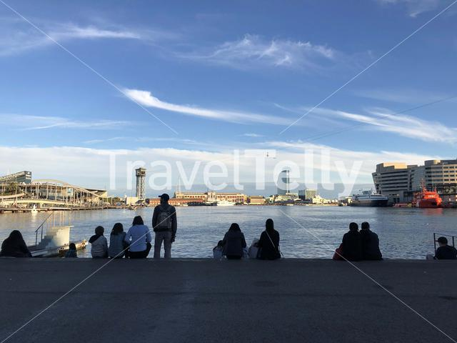People at the port of Barcelona Spain