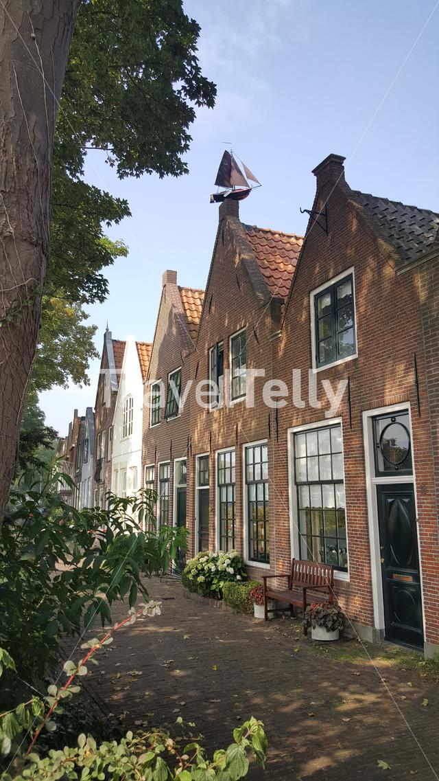 Old houses in neighborhood of Hoorn