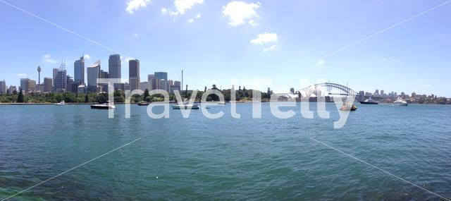 Panorama from the farm cove and the Botanic Gardens with the skyline of Sydney Australia