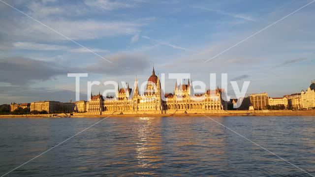 The Hungarian Parliament Building (Parliament of Budapest) during sunset in Slovakia